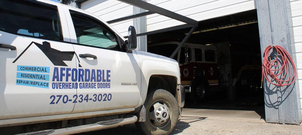 Affordable Overhead Garage Door truck sideways
