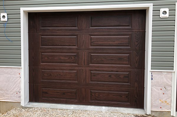 Wood-look mahogany garage door